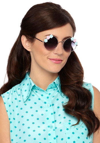 Rhyme So Fancy Sunglasses - Silver, Pink, Mint, Solid, Flower, Festival, Good, Boho