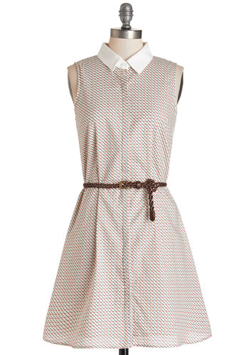 Really Shaping Up Dress - Multi, Print, Buttons, Belted, Casual, Americana, Shift, Sleeveless, Summer, Woven, Good, Collared, Mid-length, Cotton