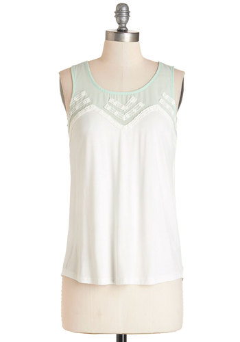 Fun-Loving Friday Top - Mid-length, Jersey, Knit, White, Mint, Solid, Casual, Sleeveless, Summer, White, Sleeveless, Lace, Scoop