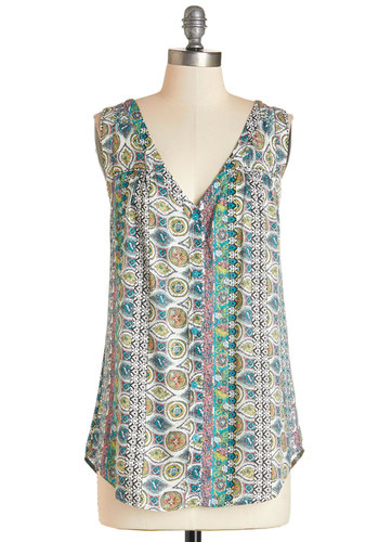 Bounty of Bouquets Top - Long, Woven, Multi, Green, Blue, White, Paisley, Casual, Boho, Sleeveless, Summer, Multi, Sleeveless, V Neck