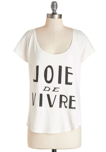 Ever the Optimist Top - Mid-length, Cotton, Knit, White, Novelty Print, Casual, French / Victorian, Quirky, Sayings, Short Sleeves, Summer, White, Short Sleeve, Scoop