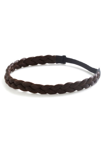 Off the Coif Headband in Dark Brown - Brown, Solid, Braided, Boho, Darling, Festival