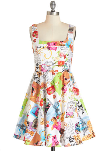 I Love You Paris Dress - Multi, Novelty Print, Daytime Party, Fit & Flare, Sleeveless, Summer, Woven, Better, Cotton, Mid-length