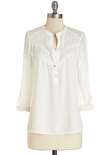 Shoreline Time Top - Mid-length, Sheer, Woven, White, Solid, Buttons, Work, Casual, Long Sleeve, Spring, White, Tab Sleeve, Summer