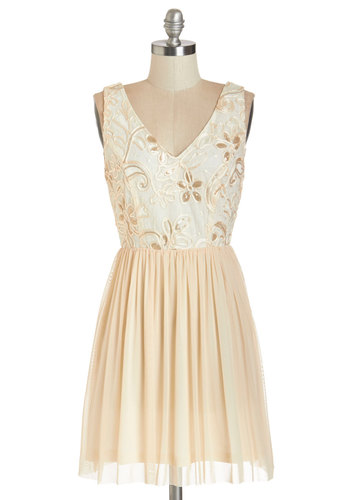 Rhyme and Shine Dress - Cream, Bronze, Embroidery, Party, A-line, Sleeveless, Woven, Good, V Neck, Short, Tulle, Floral