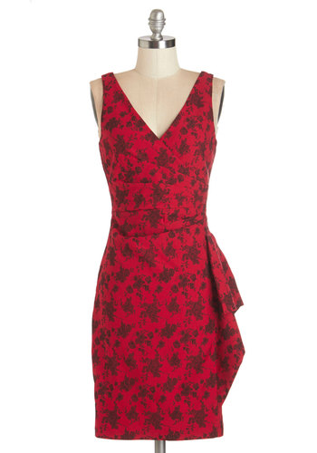 Step Out to the Soiree Dress - Red, Black, Floral, Party, Sleeveless, Mid-length, Girls Night Out, Valentine's, Sheath, Print