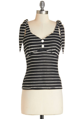 Dessert Booth Top - Short, Knit, Black, Stripes, Casual, Daytime Party, Sleeveless, Summer, Black, Sleeveless, White, Buttons, Pinup, Vintage Inspired, 50s
