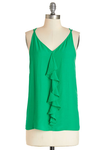 Let's Go Outside Top - Mid-length, Woven, Green, Solid, Ruffles, Daytime Party, Spaghetti Straps, Summer, Green, Sleeveless