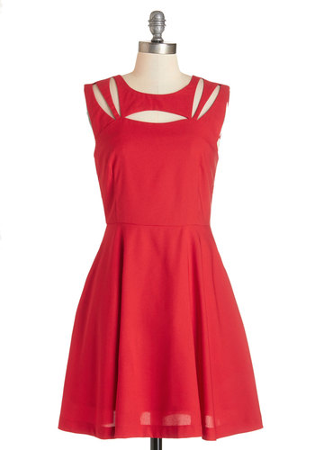 Impressive Matters Dress - Red, Solid, Cutout, Party, A-line, Sleeveless, Better, Scoop, Mid-length, Knit, Pockets, Halloween