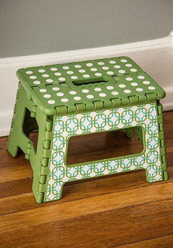 Practice What You Reach Folding Step Stool - Green, Good, Polka Dots, Print