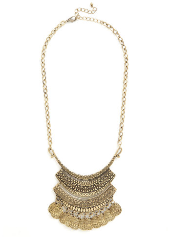 Eclectic Collector Necklace - Solid, Chain, Tiered, Casual, Girls Night Out, Boho, Statement, Urban, Darling, Gold, Festival, Fall