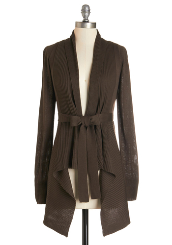 Coastal Cafe Cardigan in Chocolate - Knit, Brown, Solid, Belted, Casual, Long Sleeve, Fall, Variation, Brown, Long Sleeve, Work