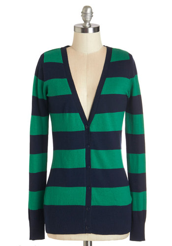 Delicious Date Cardigan in Navy and Green - Mid-length, Knit, Blue, Stripes, Buttons, Casual, Scholastic/Collegiate, Nifty Nerd, Long Sleeve, Fall, Variation, Green, Long Sleeve, Multi, Green, V Neck