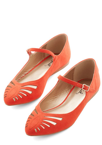 Head of the Sass Flat in Scarlet - Flat, Orange, Solid, Cutout, Party, Daytime Party, Good, Mary Jane