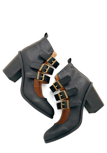 To the City and Beyond Bootie - Mid, Faux Leather, Black, Solid, Buckles, Statement, Urban, Steampunk, Good, Chunky heel, Strappy