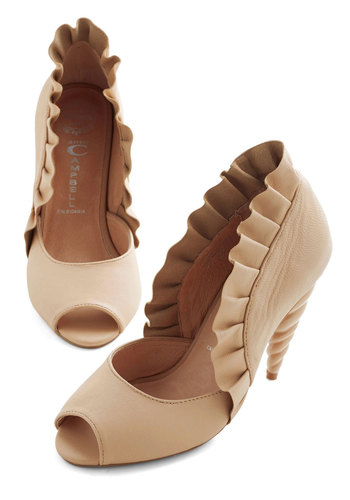 Unicorn Princess Heel in Vanilla by Jeffrey Campbell - Tan, Solid, Ruffles, Fairytale, High, Peep Toe, Top Rated