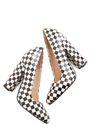 In Full Swing Dance Heel - High, White, Checkered / Gingham, Party, Vintage Inspired, 70s, 80s, Statement, Urban, Good, Chunky heel, Black, Girls Night Out, Festival, Boho