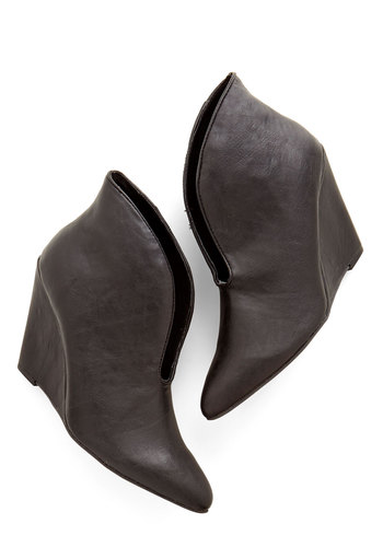 Fashion Shoreward Bootie - Mid, Faux Leather, Black, Solid, Party, Girls Night Out, Urban, Minimal, Good, Wedge