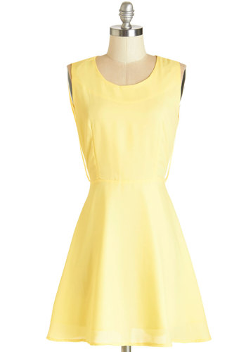 A Butter Tomorrow Dress by Kling - Yellow, Solid, Backless, Daytime Party, Sundress, Pastel, A-line, Sleeveless, Summer, Woven, Better, Scoop, Mid-length, Chiffon