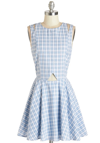 She's a Bibliomaniac Dress by Kling - Blue, Black, Plaid, Cutout, Casual, Nifty Nerd, Fit & Flare, Sleeveless, Summer, Woven, Better, Scoop, Mid-length, Cotton, Sundress