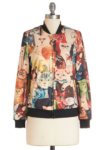 This, Cat, and the Other Thing Jacket - Multi, 2, Print with Animals, Casual, Rockabilly, 50s, Cats, Long Sleeve, Woven, Best, Black, Multi, Vintage Inspired, Quirky
