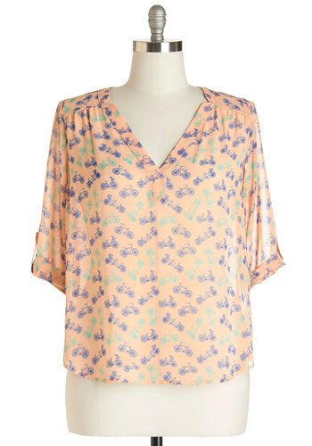 Bike to the Beach Top in Pink - Plus Size - Chiffon, Sheer, Woven, Blush, Blue, Novelty Print, Work, Short Sleeves, Spring, Summer, Pink, Tab Sleeve, Variation, Green, Scoop