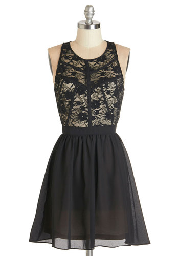 Fine and Fancy Dress - Black, White, Lace, Party, A-line, Sleeveless, Woven, Lace, Better, Scoop, Short, Multi, Girls Night Out