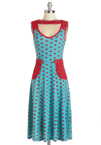 Smitten On the Dock of the Bay Dress - Red, Novelty Print, Buttons, Lace, Pockets, Trim, Casual, Nifty Nerd, A-line, Sleeveless, Knit, Better, V Neck, Long, Blue