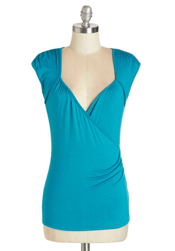 Seemingly Sew Top in Teal - Mid-length, Jersey, Knit, Blue, Solid, Work, Casual, Cap Sleeves, Variation, Blue, Short Sleeve, Exclusives