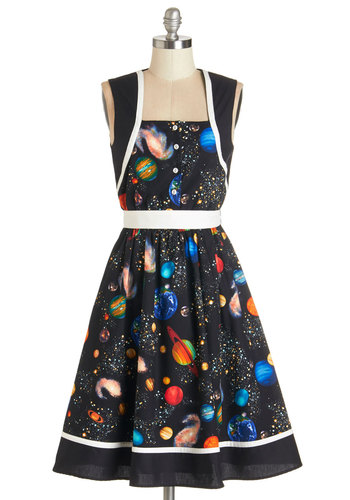 You're Out of this World Dress by Bea & Dot - Multi, Buttons, Casual, A-line, Sleeveless, Better, Cosmic, Novelty Print, Belted, Nifty Nerd, Exclusives, Private Label, Pockets, Statement, Long