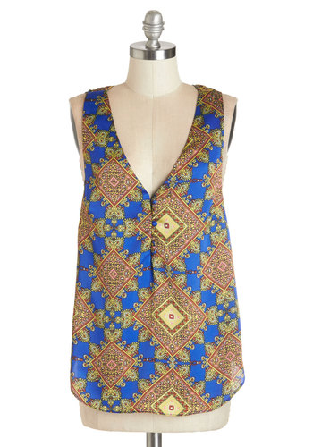 I Like Your Tile Top - Mid-length, Satin, Woven, Multi, Blue, Tan / Cream, Print, Sleeveless, Multi, Sleeveless, Buttons, Vintage Inspired, 70s, V Neck, Festival, Boho