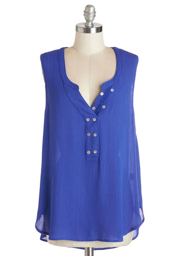 Pure and Crinkled Top - Mid-length, Woven, Blue, Solid, Buttons, Casual, Sleeveless, Summer, Blue, Sleeveless, Spring