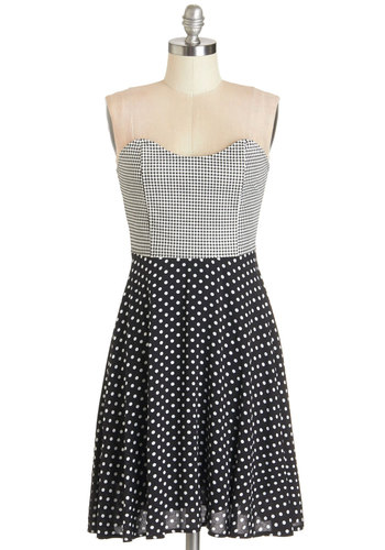 Gab and Greet Dress by Kling - Black, White, Polka Dots, Checkered / Gingham, Casual, A-line, Strapless, Woven, Better, Sweetheart, Mid-length, Cotton, Summer