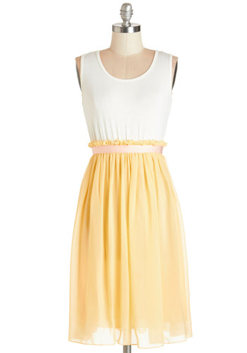 Happy to Have You Dress by Kling - Yellow, Casual, Pastel, A-line, Sleeveless, Summer, Good, Scoop, Mid-length, White
