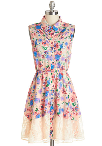 Petit Four the Best Dress - Multi, Mid-length, Woven, Lace, Floral, Buttons, Cutout, Pleats, Casual, A-line, Sleeveless, Spring, Summer, Collared
