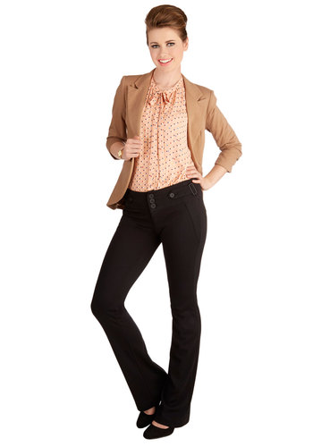 Teacher Presentation Pants - Knit, Flare / Bell Bottom, Good, Low-Rise, Full length, Black, Non-Denim, Fall, Winter, Black, Solid, Buttons, Work