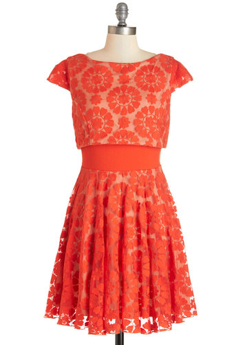 Love Will Find a Sway Dress in Hearts by Eva Franco - Red, Floral, Daytime Party, A-line, Cap Sleeves, Woven, Best, Scoop, Mid-length, Lace, Party, Valentine's