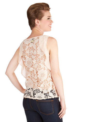 We Flit Together Top - Mid-length, Woven, Lace, Blush, Solid, Lace, Ruffles, Wedding, Work, Cocktail, Girls Night Out, Daytime Party, Darling, Sleeveless, Spring, Summer, Pink, Sleeveless