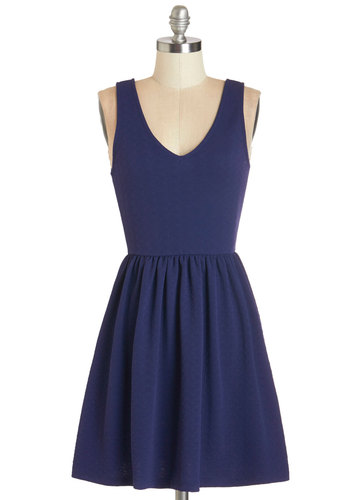 Storytelling it Like it is Dress - Blue, Solid, Bows, Casual, Americana, A-line, Sleeveless, Summer, Knit, Good, V Neck, Mid-length
