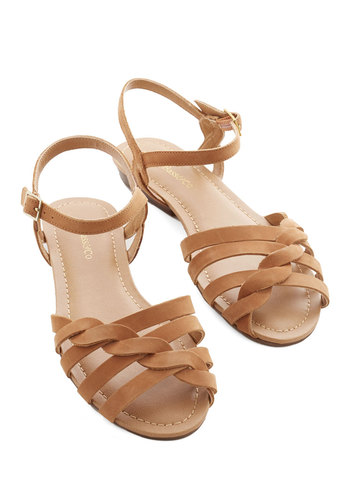 Come Out and Plait Sandal in Caramel by Bass - Low, Leather, Tan, Solid, Braided, Casual, Daytime Party, Boho, Rustic, Better, Strappy, Variation