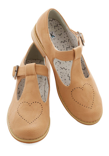 Love Song and Dance Flat by Kling - Low, Tan / Cream, Solid, Casual, Better, Mary Jane, T-Strap
