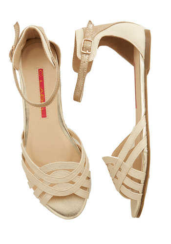Zen in Rome Sandal - Flat, Faux Leather, Solid, Wedding, Party, Casual, Daytime Party, Good, Cream