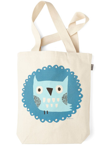 The Crowd Goes Wilderness Tote in Owl - Multi, Casual, Owls, Print with Animals, Cotton, Travel, Critters, Bird, Woodland Creature