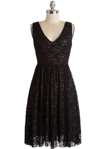 Swooning Under the Stars Dress - Black, Solid, Lace, Special Occasion, Party, A-line, Sleeveless, Lace, Better, V Neck, Mid-length, Knit, LBD, Wedding, Bridesmaid