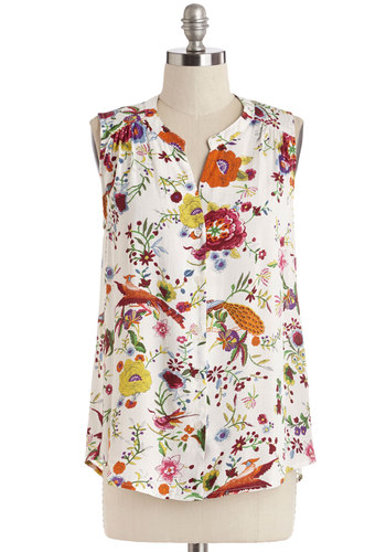 Designed, Sealed, Delivered Top in Light - Mid-length, Woven, Floral, Print with Animals, Buttons, Work, Daytime Party, Sleeveless, Spring, Summer, White, Sleeveless, Multi, Variation
