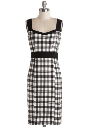 I Am Glam Dress - Black, White, Plaid, Daytime Party, Vintage Inspired, 50s, Shift, Sleeveless, Woven, Good, Sweetheart, Mid-length, Multi, Exposed zipper