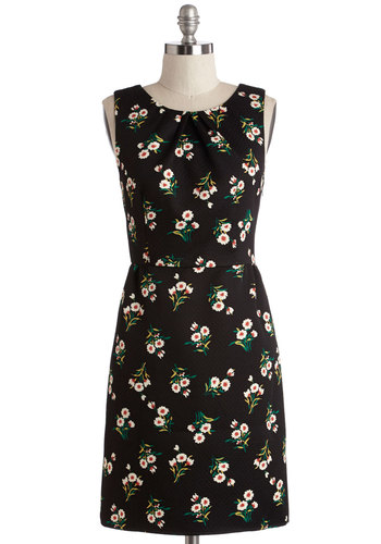 Playful at the Party Dress - Multi, Floral, Daytime Party, Shift, Sleeveless, Woven, Better, Scoop, Black, Work, Mid-length