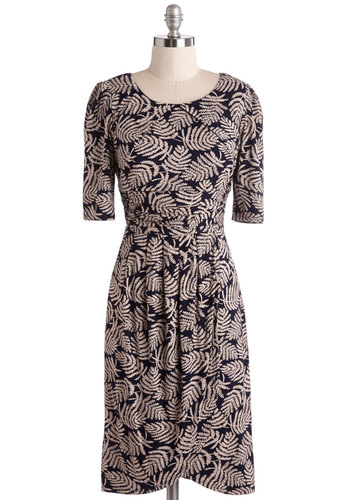 While You Were Tweeting Dress in Frond - Brown, Black, Print, Work, Casual, A-line, Short Sleeves, Knit, Better, Scoop, Jersey, Multi, Mid-length, Top Rated
