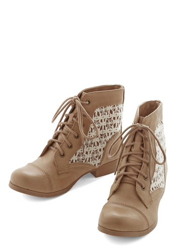 Go with the Florence Bootie - Low, Faux Leather, Tan, Solid, Lace, Good, Lace Up, Tan / Cream, Casual