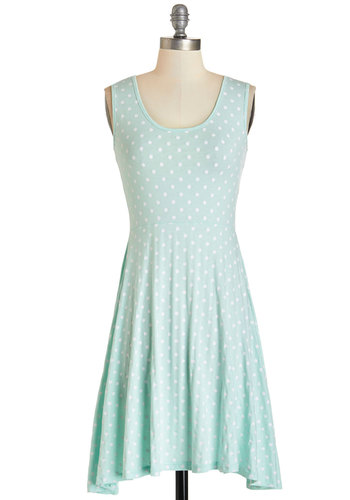 Sweet Spots Dress by Kling - Blue, White, Polka Dots, Casual, A-line, Sleeveless, Summer, Knit, Better, Scoop, Pastel, Mid-length, Cotton